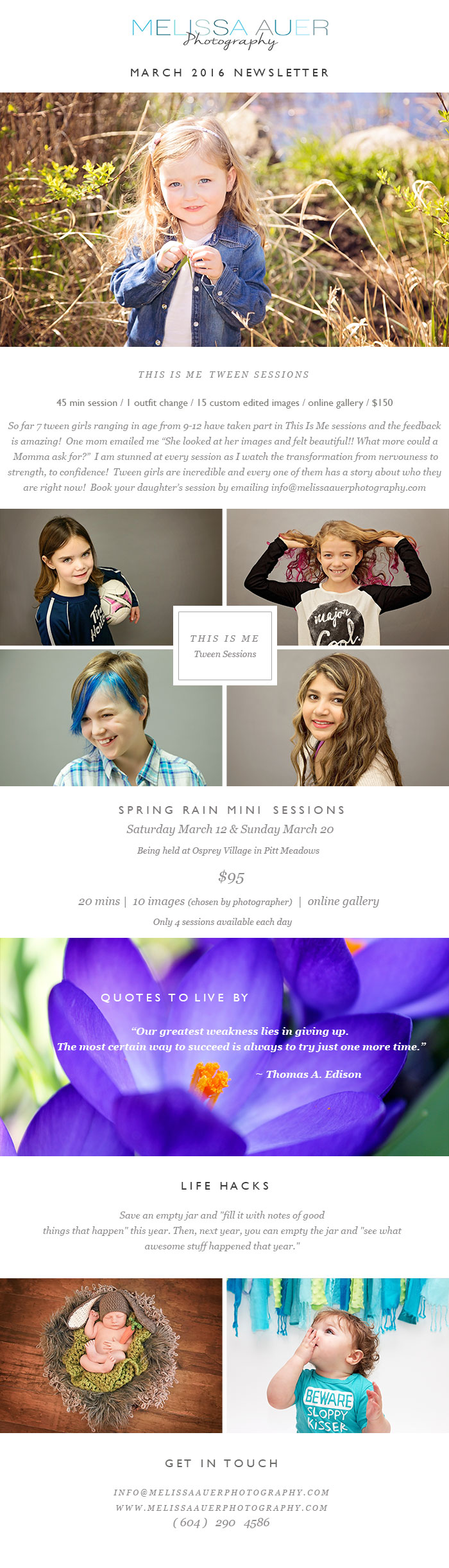 March Newsletter 2016 - Melissa Auer Photography